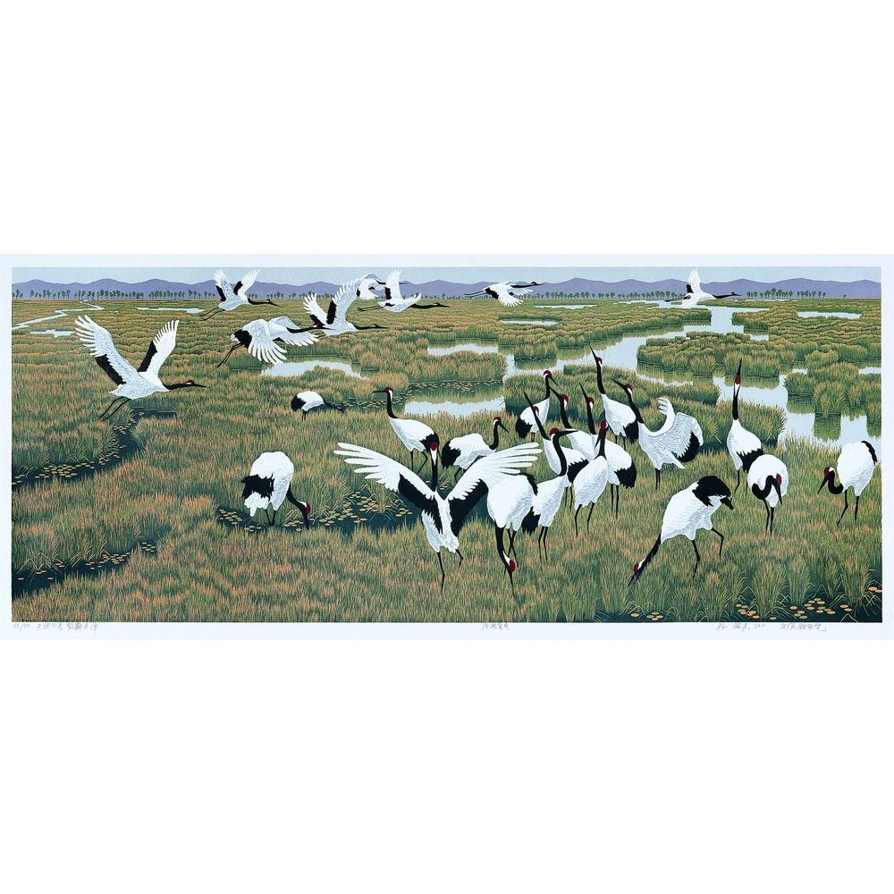 Spring in Harmony, Cranes Dancing in Abundant Pond 天地同春 鹤舞丰泽