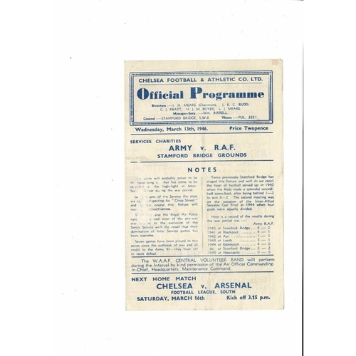 The Army v RAF Services Charities Friendly Football Programme 1945/46 @ Chelsea