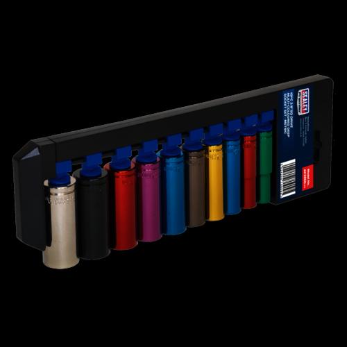"""Multi-Coloured Socket Set 10pc 3/8""""Sq Drive 6pt WallDrive® Metric - Sealey - AK285D"""
