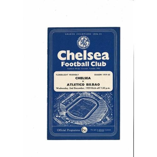 Chelsea v Atletico Bilbao Friendly Football Programme 1959/60