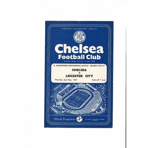 Chelsea v Leicester City K Armstrong Testimonial Football Programme 1956/57