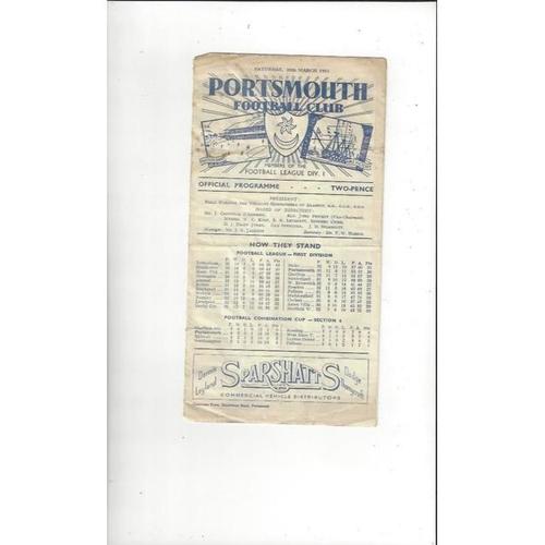 1950/51 Portsmouth v Manchester United Football Programme