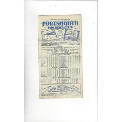 1951/52 Portsmouth v Doncaster Rovers FA Cup Football Programme