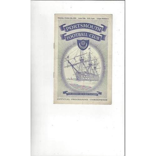 1956/57 Portsmouth v Aston Villa Football Programme