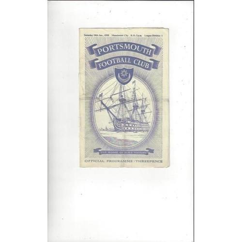 1957/58 Portsmouth v Manchester City Football Programme