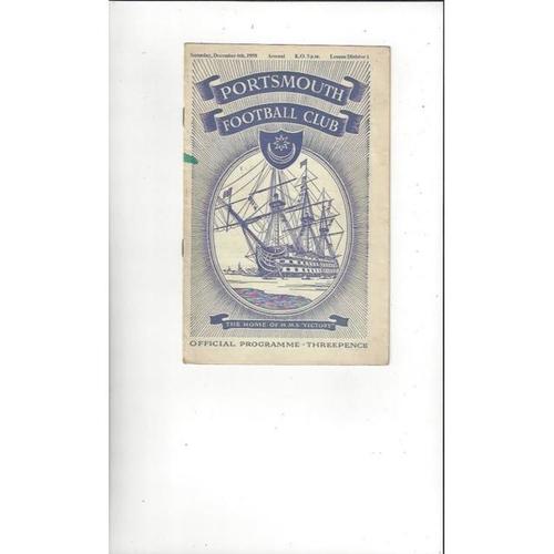 1958/59 Portsmouth v Arsenal Football Programme