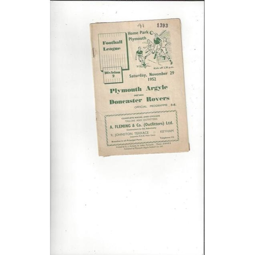 1952/53 Plymouth Argyle v Doncaster Rovers Football Programme