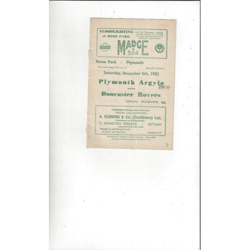 1953/54 Plymouth Argyle v Doncaster Rovers Football Programme