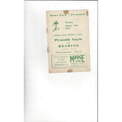 1957/58 Plymouth Argyle v Reading Football Programme