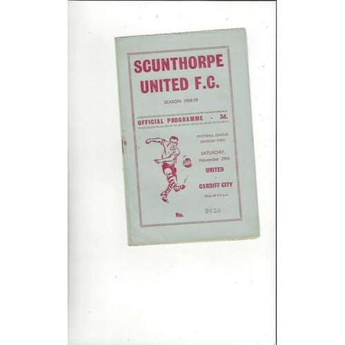 1958/59 Scunthorpe United v Cardiff City Football Programme