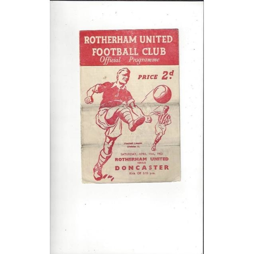 1952/53 Rotherham United v Doncaster Rovers Football Programmes