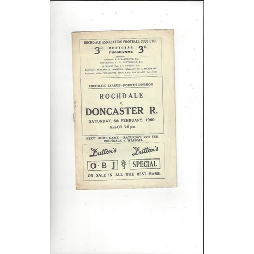 1959/60 Rochdale v Doncaster Rovers Football Programme