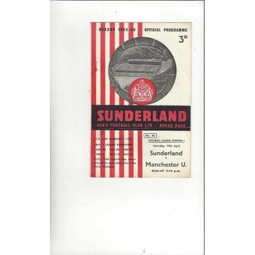 1955/56 Sunderland v Manchester United Football Programme