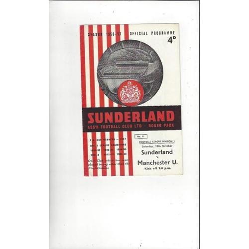 1956/57 Sunderland v Manchester United Football Programme