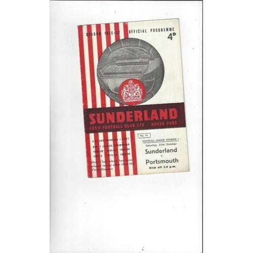 1956/57 Sunderland v Portsmouth Football Programme