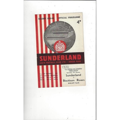 1959/60 Sunderland v Blackburn Rovers FA Cup Football Programme