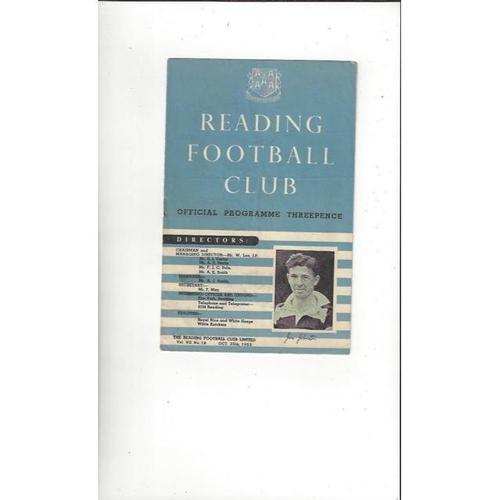 1952/53 Reading v Exeter City Football Programme