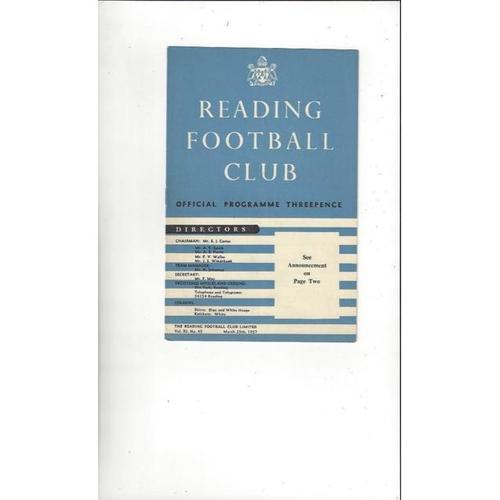 1956/57 Reading v Southampton Football Programme