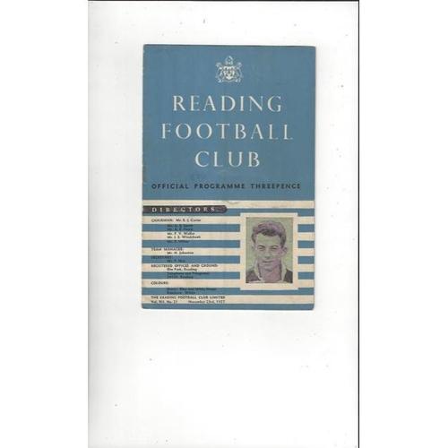 1957/58 Reading v Exeter City Football Programme
