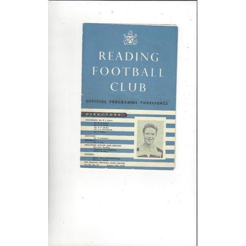 1957/58 Reading v Northampton Town Football Programme