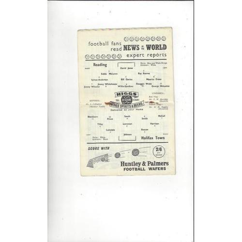 1958/59 Reading v Halifax Town Football Programme