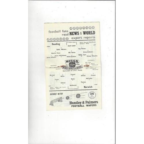 1958/59 Reading v Norwich City Football Programme