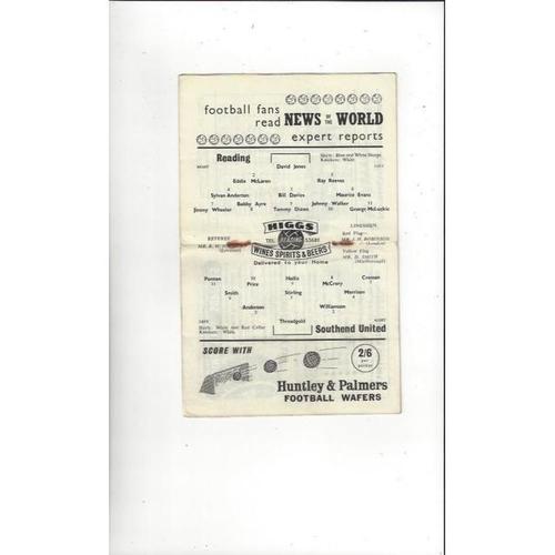 1958/59 Reading v Southend United Football Programme