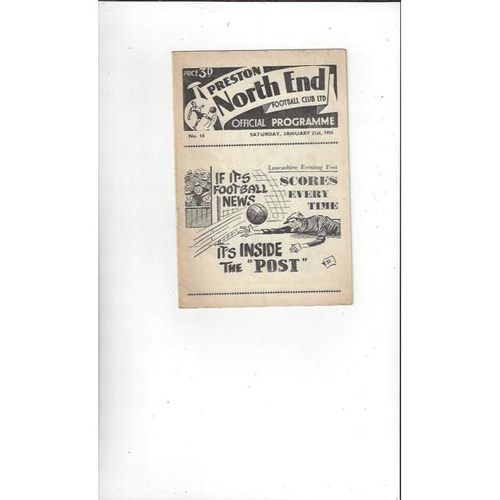 1955/56 Preston v Manchester United Football Programme