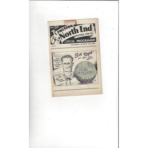 1958/59 Preston v Arsenal Football Programme