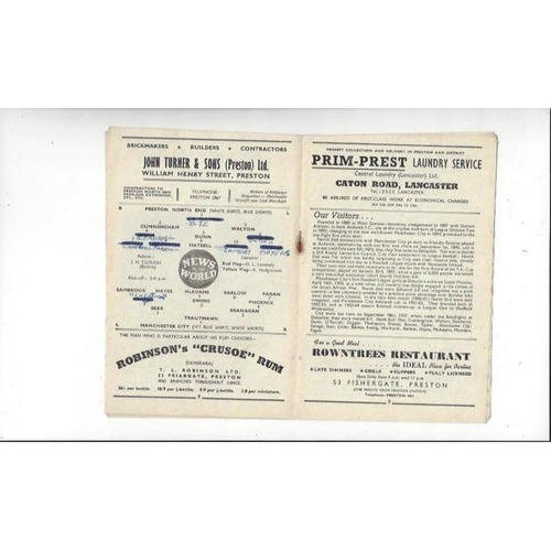 1958/59 Preston v Manchester City Football Programme