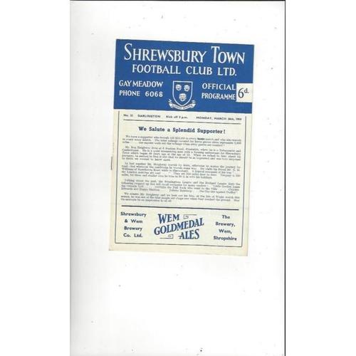 1958/59 Shrewsbury Town v Darlington Football Programme