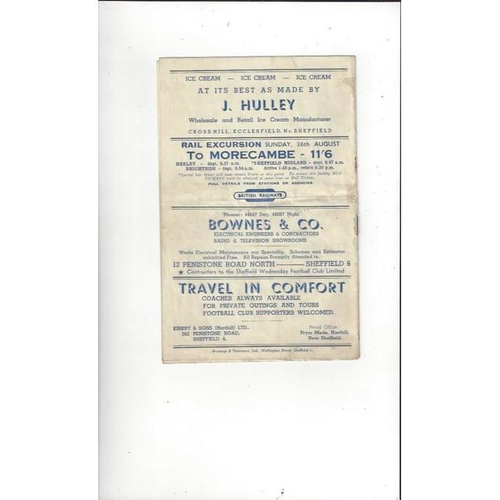 1951/52 Sheffield Wednesday v Doncaster Rovers Football Programme