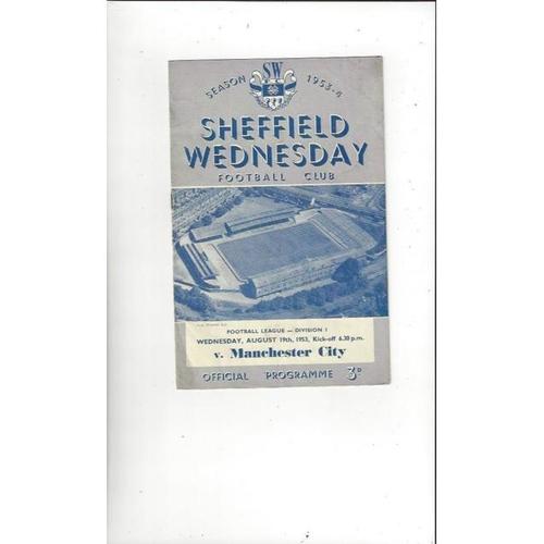 1953/54 Sheffield Wednesday v Manchester City Football Programme