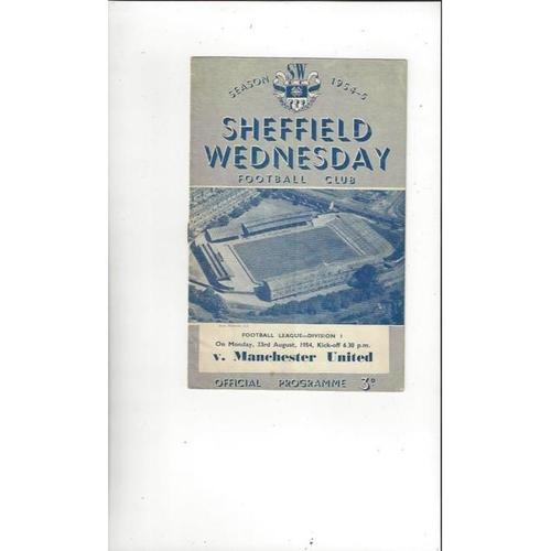1954/55 Sheffield Wednesday v Manchester United Football Programme
