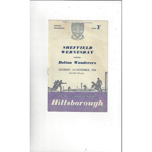1956/57 Sheffield Wednesday v Bolton Wanderers Football Programme