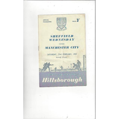 1956/57 Sheffield Wednesday v Manchester City Football Programme
