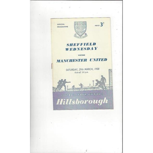 1957/58 Sheffield Wednesday v Manchester United Football Programme
