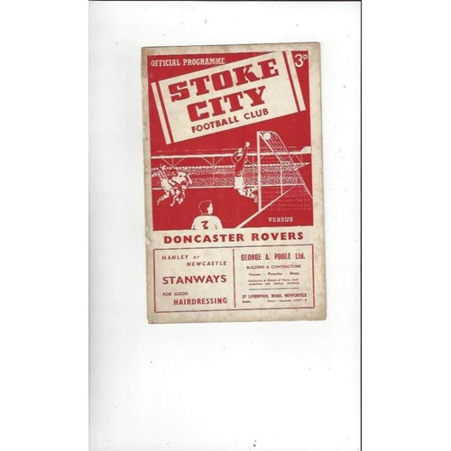 1953/54 Stoke City v Doncaster Rovers Football Programme