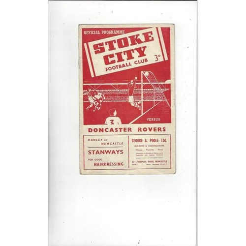 1954/55 Stoke City v Doncaster Rovers Football Programme