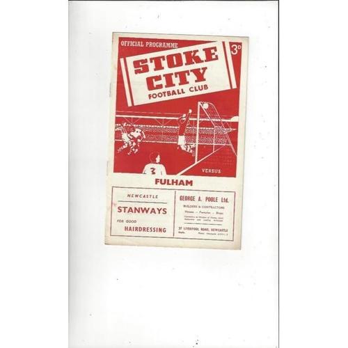 1955/56 Stoke City v Fulham Football Programme