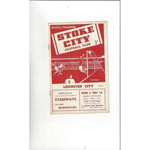 1955/56 Stoke City v Leicester City Football Programme