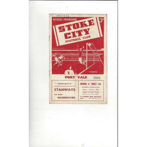 1955/56 Stoke City v Port Vale Football Programme