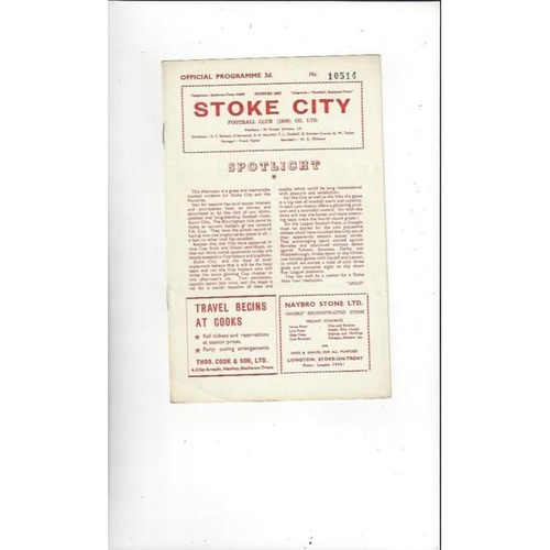 1957/58 Stoke City v Aston Villa Football Programme