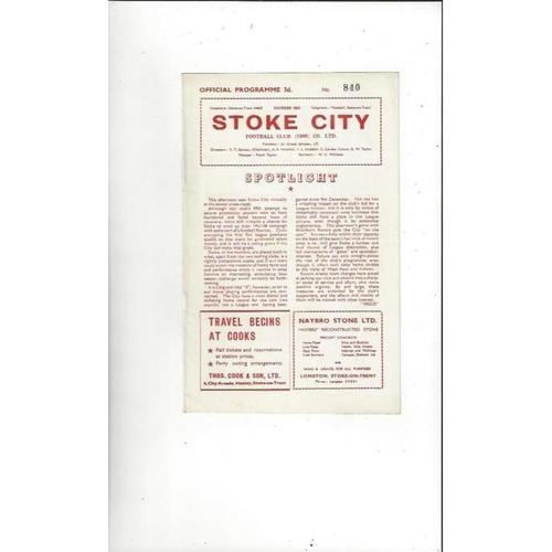 1957/58 Stoke City v Blackburn Rovers Football Programme