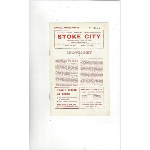 1957/58 Stoke City v Barnsley Football Programme