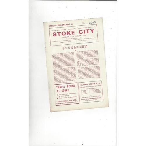 1957/58 Stoke City v Charlton Athletic Football Programme