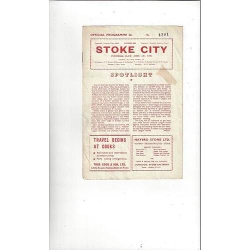 1957/58 Stoke City v Doncaster Rovers Football Programme