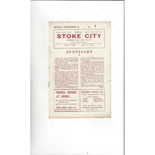 1957/58 Stoke City v Huddersfield Town Football Programme