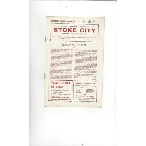 1957/58 Stoke City v Notts County Football Programme