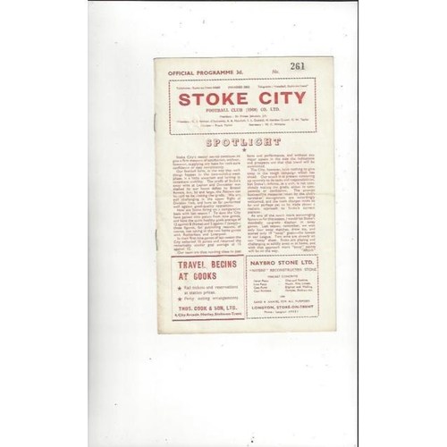 1957/58 Stoke City v Rotherham United Football Programme